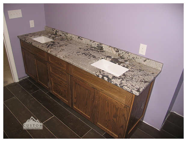 Aspen White Leather Double Vanity Counter