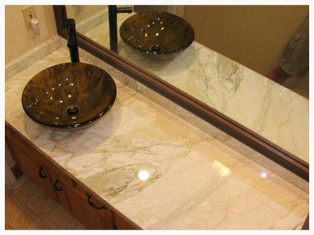 Calacatta Marble Vanity top with mitered