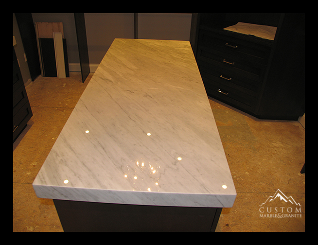 Carrara Marble with miter top