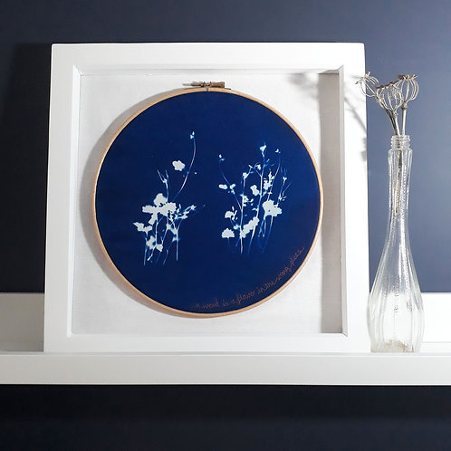 Not Just a Weed Embroidery Hoop Cyanotype