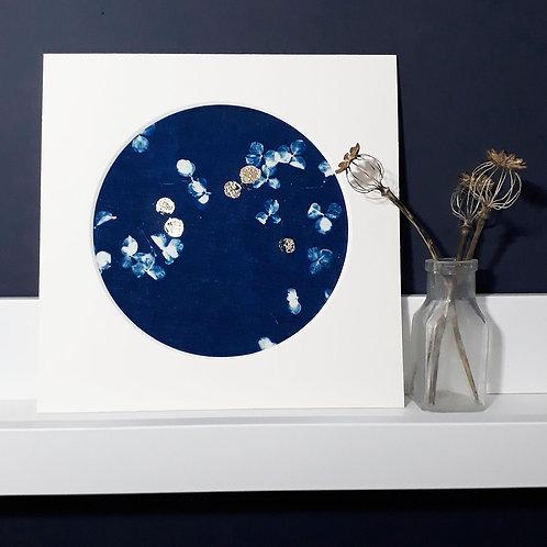 Hydrangea Blossom Cyanotype on fabric