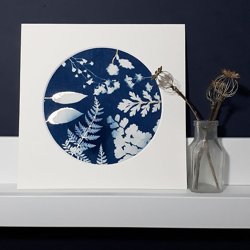 Flowers and Ferns Cyanotype on fabric