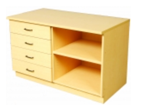 "48"" Base - 4 Drawers, Open Storage"