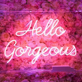 Hello Gorgeous - Pink Neon (Pink Flower Wall)