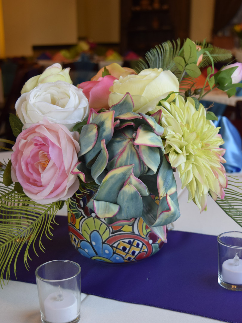Fiesta Floral Arrangement & Glass Votives