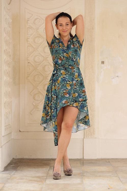 ManduTrap - Line Asymmetrical Wrap-Around Dress (Fish/Floral)