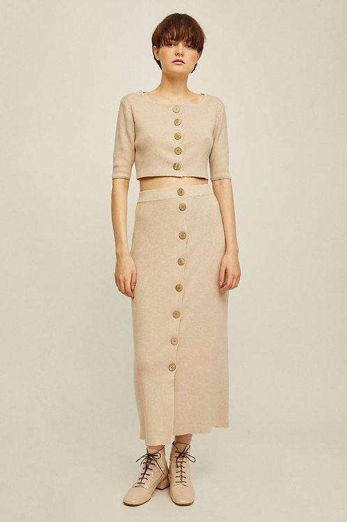 Rita Row - Mirta Buttoned Knit Skirt (Beige)