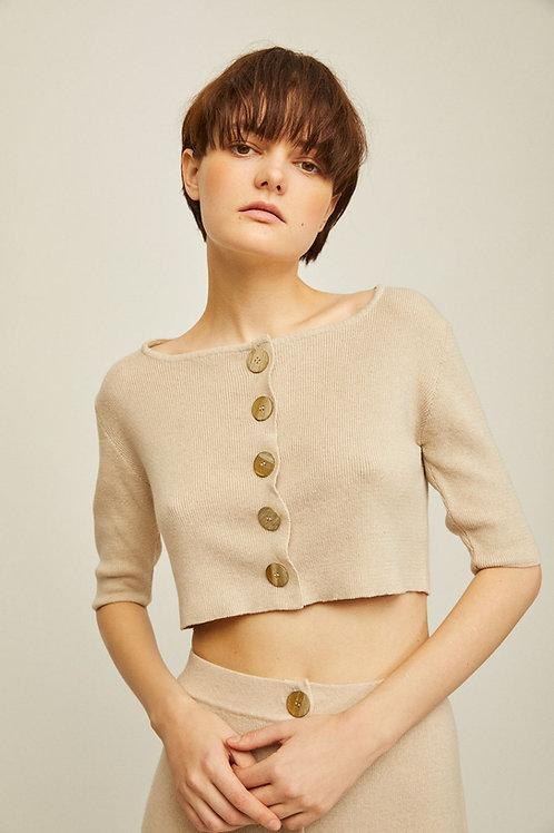 Rita Row - Mafi Buttoned Knit Top (Beige)