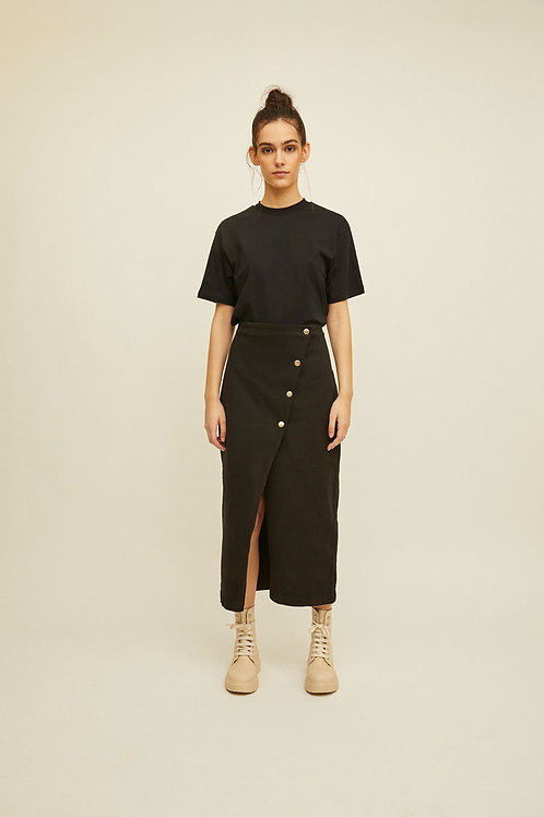 Rita Row - Rose Buttoned Skirt (Black)