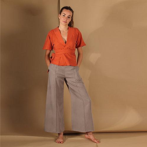 ManduTrap - Silja Tencel Wrap-Around Shirt (Rust)