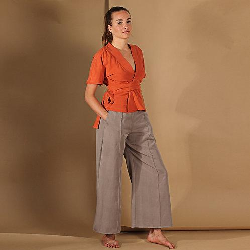 ManduTrap - Janina Wide Leg Tencel Pants (Khaki)