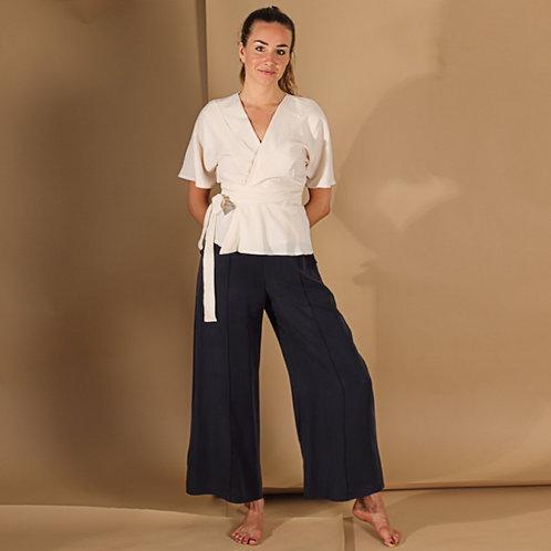 ManduTrap - Janina Wide Leg Tencel Pants (Dark Blue)