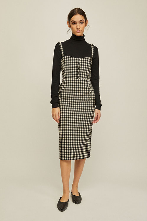 Rita Row - Rita Row - Emma Fitted Wool Dress (Black Gingham)