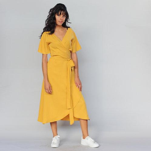 ManduTrap - Luma Tencel Wrap-Around Dress (Mustard Yellow)