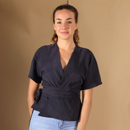 ManduTrap - Silja Tencel Wrap-Around Shirt (Dark Blue)