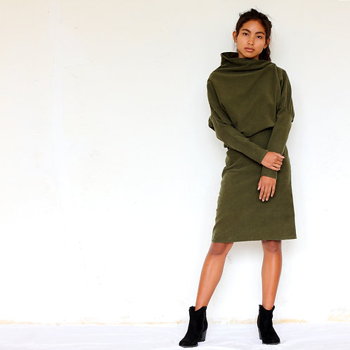 ManduTrap - Juni Corduroy Dress (Olive Green)