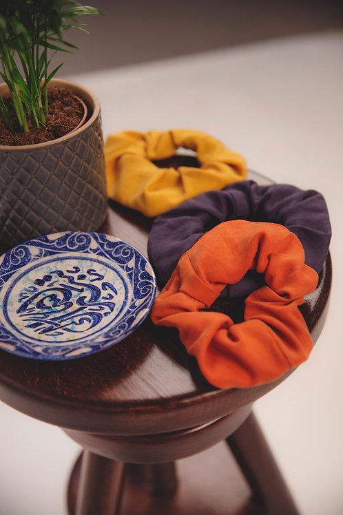 ManduTrap - Scrunchies, 3 Pack (Blue, Mustard Yellow, Rust)