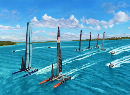 """""""The Chase"""" : AC Vessels captured by Lisa Rego, depicted sailing in the Great Sound!"""