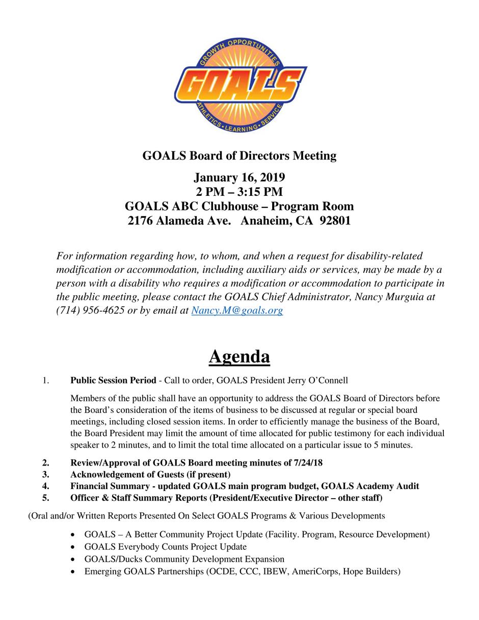 GOALS Board of Directors Meeting January