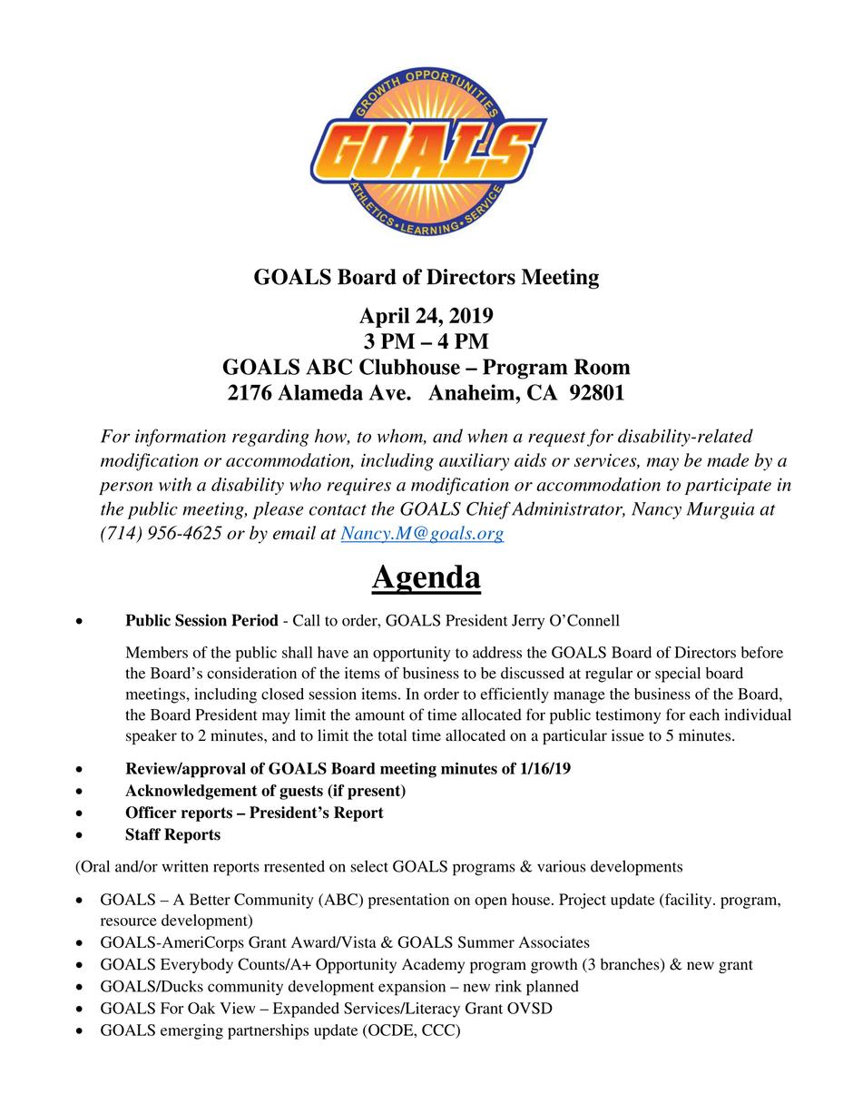 GOALS Board of Directors Meeting April 2