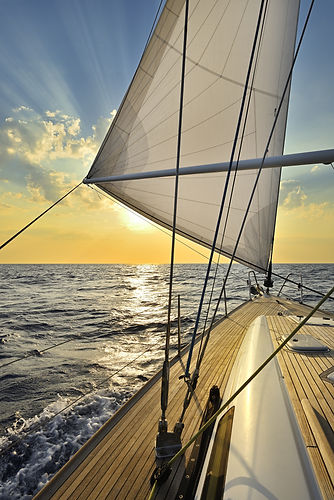 Sailboat sailing in the Mediterranean Se