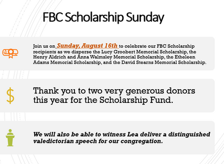 Scholarship Sunday - August 16th