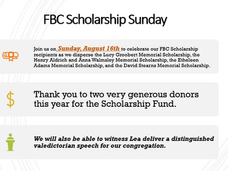 Scholarship Sunday - August 16th
