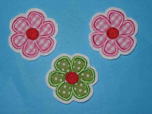 3 Bumen Aufnäher in rosa grün