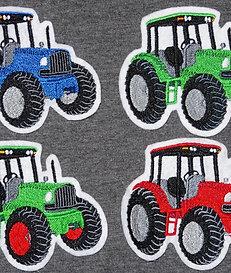 Traktor Aufnäher rot grün blau Applikation Handmade Patch Flicken