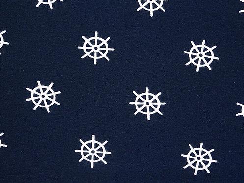 Steuerrad weiß auf dunkelblau Jersey Baumwolle Meterware Baumwolljersey
