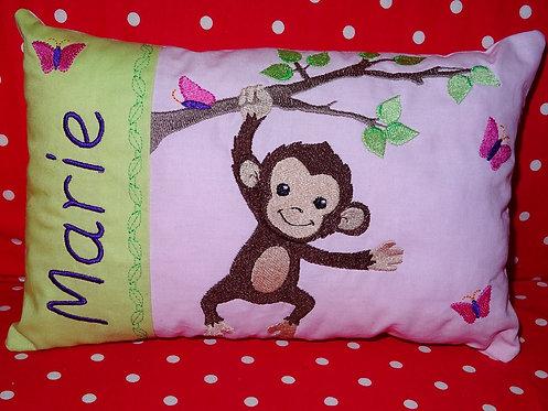 Namenskissen mit Affe in Wunschfarbe