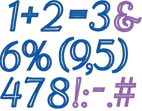 Zahlen 5cm und Rechen Zeichen Stickdatei Mathe Vokabeln
