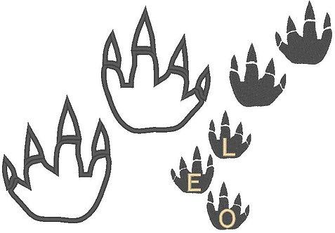 Dino Tatze Stickdatei mit Alphabet