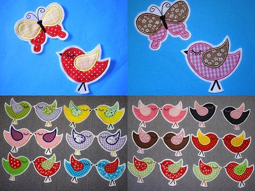 Vogel mit Schmetterling Aufnäher Applikation in 50 Farben