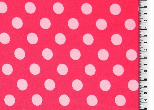 Wintersweat Sweat Punkte  rot rosa Kombistoff Meterware Ba