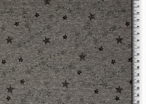 Alpenfleece Sterne grau Meterware Jersey mit Kuschelrückseite dunkelgrau