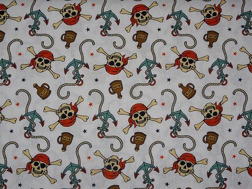 Skull Totenkopf Anker Pirat Baumwolle Meterware Baumwollstoff Webware