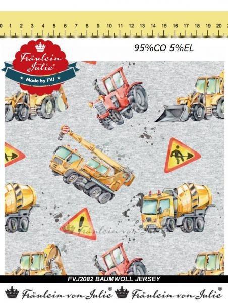 Baufahrzeuge Traktor grau Fräulein von Julie Jersey Baumwolljersey