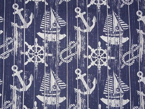 Canvas Anker Maritim hellgrau dunkelblau Fräulein von Julie Taschenstoff