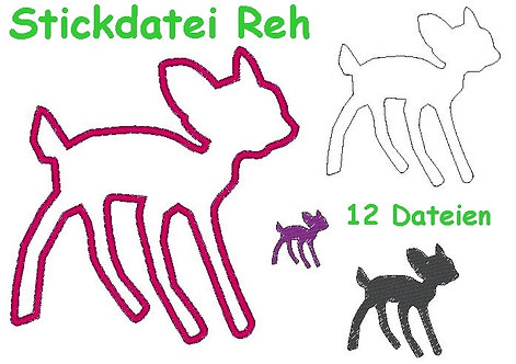 Stickdatei Reh Rehkitz Doodle + Appli