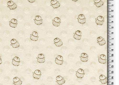 Bubble Fleece Baby creme Pinguin Meterware weich zart