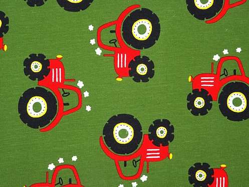 Traktor rot auf oliv Jersey Baumwolljersey