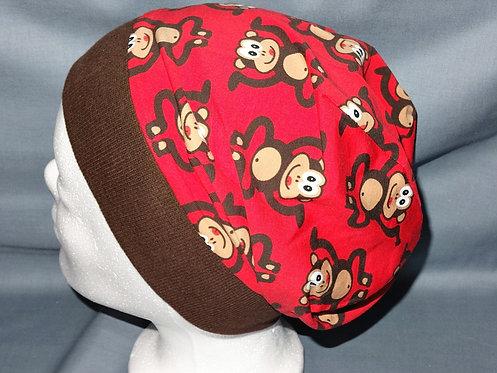 Beanie Affe rot  Mütze Tiere Handmade genäht Jersey
