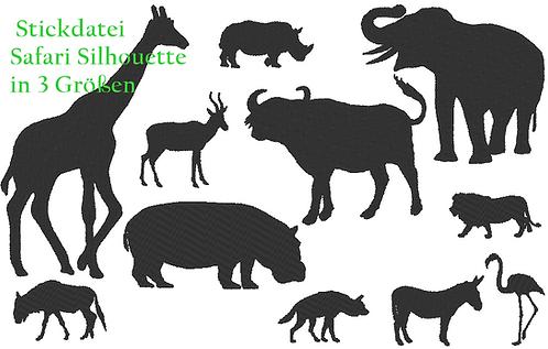 Safari Silhouette Stickdatei