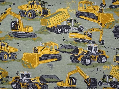Bagger Baufahrzeuge gelb hell oliv Jersey für Jungs Baumwolljersey Meterwar