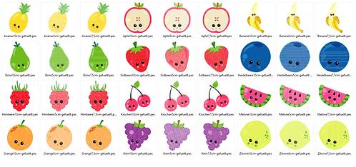 freche Früchtchen Obst gefüllt Stickdatei
