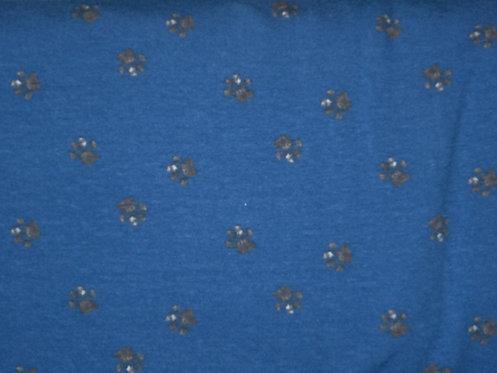 Hunde Tatzen auf blau Jersey Baumwolle Meterware Baumwollje