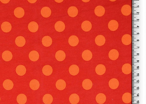 Wintersweat Sweat Punkte  rot orange Kombistoff Meterware Ba