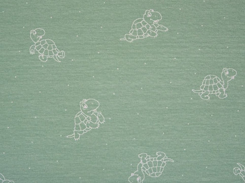 schlichter Jersey Schildkröte auf mint Baumwolljersey