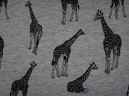 Giraffe Giraffen Kuschelsweat Sweater Sweat grau schwarz Meterware French Terry